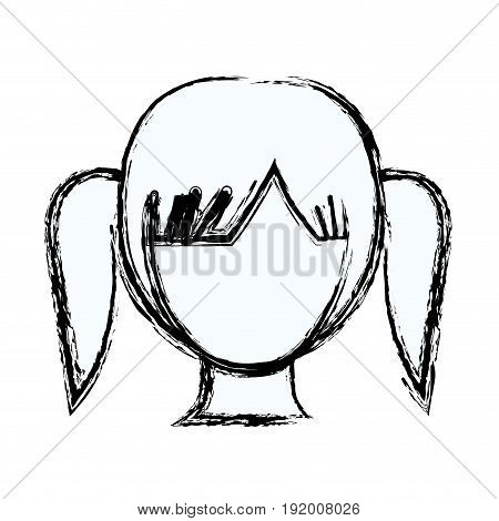 blurred silhouette faceless girl with high pigtails hairstyle vector illustration