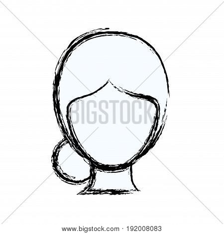 blurred silhouette faceless woman with collected hair vector illustration
