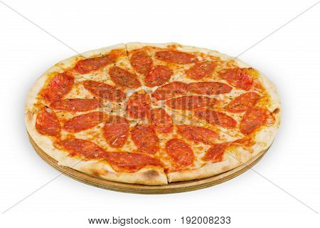 Pizza pepperoni white background object nobody view