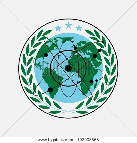 laurel wreath earth icon with an atom flat design image