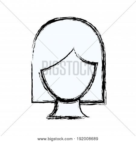 blurred silhouette faceless woman with short hair vector illustration