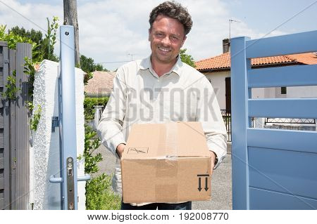 Workman Delivery Man For Shipping Order At Home
