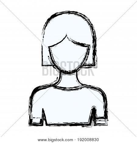 blurred silhouette faceless half body woman with short hair vector illustration