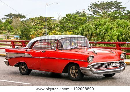 HAVANA CUBA - JUNE 6 2017: Motor car Chevrolet Bel Air in the city street.