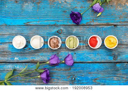 Selection Of Gourmet Flavours Of Italian Ice Cream In Vibrant Colors Served In Individual Porcelain