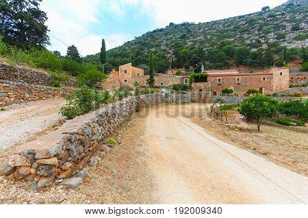 Island Crete Greece - June 27 2016: Greek orthodox Vossakos monastery or Monastery of Timios Stavros on Crete island in Greece.
