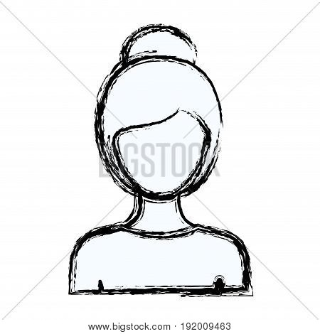 blurred silhouette faceless half body woman with collected hairstyle vector illustration