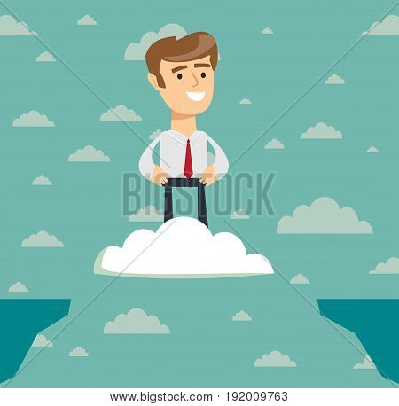 Challenges and success . Businessman Flies over the abyss . Business concepts in vector.