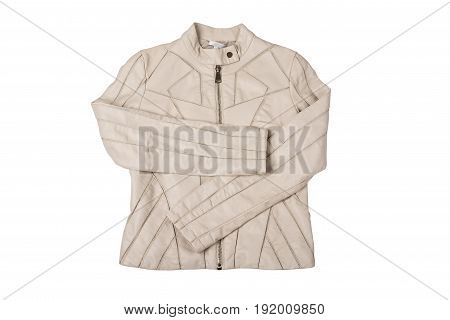 Modern white ladies' leather jacket isolated on white with clipping path.