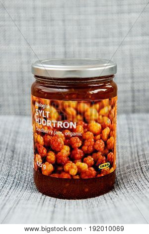 PARIS FRANCE - OCT 25 2016: IKEA food package - Swedish jam made from organic cloudberry fruits. IKEA Foods is a division of IKEA furniture. IKEA is a Scandinavian chain selling ready-to-assemble furniture plus housewares in a warehouse-like space.