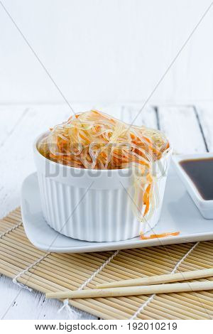 Asian Spicy Salad Of Glass Noodles Or Funchoza With Carrots