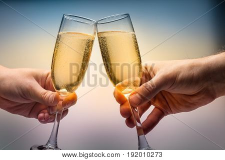 People wine two glasses toasting bar yellow