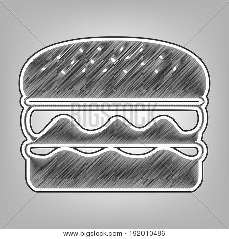 Burger simple sign. Vector. Pencil sketch imitation. Dark gray scribble icon with dark gray outer contour at gray background.