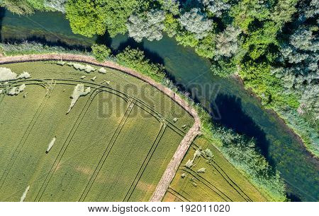 Le Rhin Tortu, a small river in the south of Strasbourg - Alsace, France