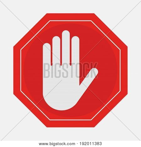 A red octagonal stop sign hand STOP prohibits various activities
