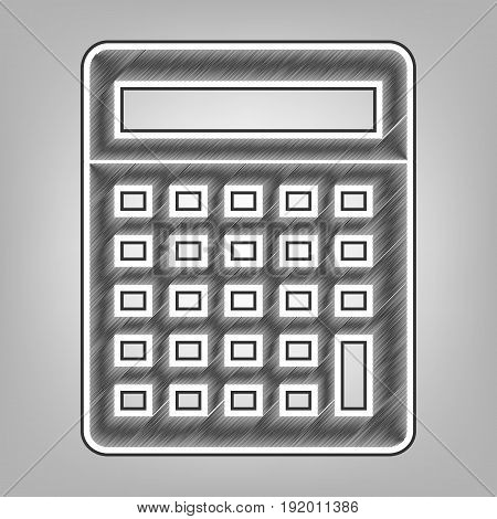Calculator simple sign. Vector. Pencil sketch imitation. Dark gray scribble icon with dark gray outer contour at gray background.