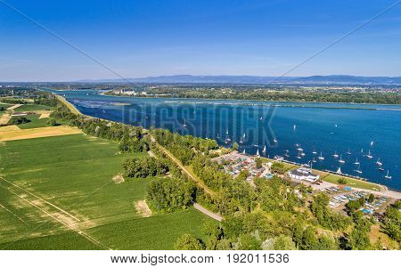 Sailing yachts on the Rhine in the south of Strasbourg - Alsace, France