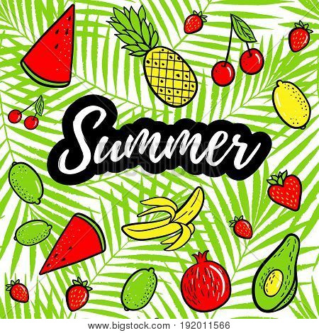 Summer Vector Illustration Background. Hand Drawn Fashion Patches Tropical Fruits: Lemon, Avocado, P