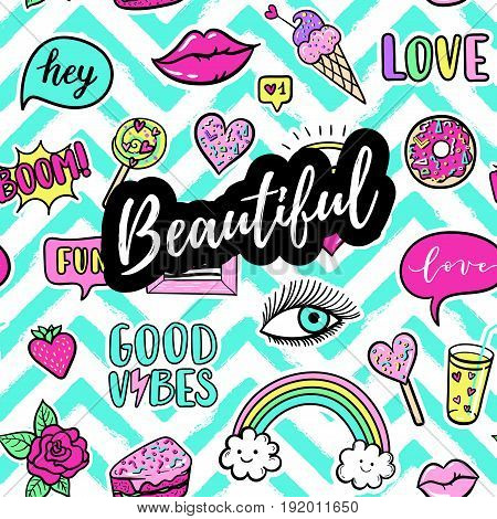Beautiful Fashion Poster. Hand Drawn Fashion Pink Color Patches: Rainbow, Cake, Lollipop, Good Vibes