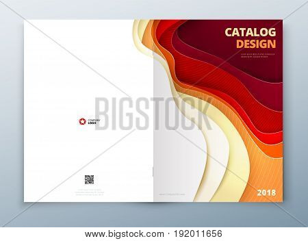 Catalog cover design. Paper carve abstract cover for brochure flyer magazine or catalog design. Cover in red orange yellow color for catalog