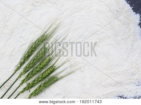 crumbly white flour and full green ears of corn with grains bread