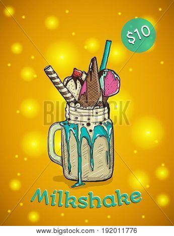 Monstershake In cartoon Style. Crazy Milkshake with waffles strawberries and ice cream. Hand Drawn Creative Dessert Vector illustration.