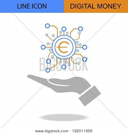 Exclusive Digital Money Flat Line vector icon.