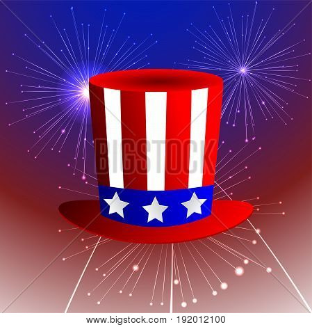 fireworks background with American uncle sam hat and fireworks on dark sky. vector illustration.