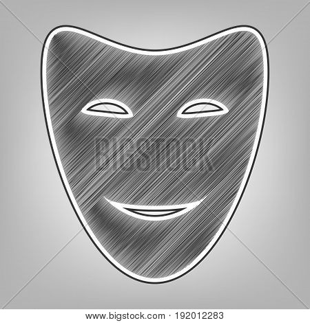 Comedy theatrical masks. Vector. Pencil sketch imitation. Dark gray scribble icon with dark gray outer contour at gray background.