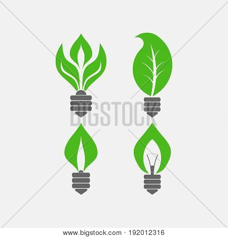 set of light bulbs with leaves saving electricity Ecology of nature symbol of green energy