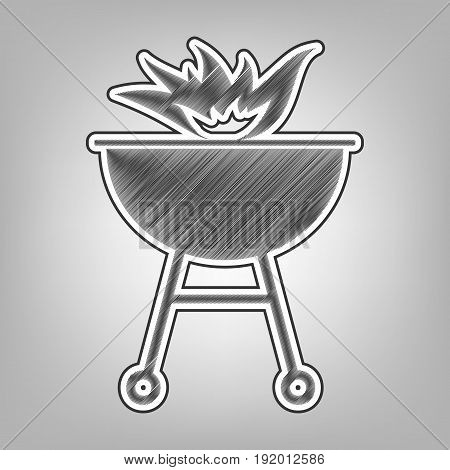 Barbecue with fire sign. Vector. Pencil sketch imitation. Dark gray scribble icon with dark gray outer contour at gray background.