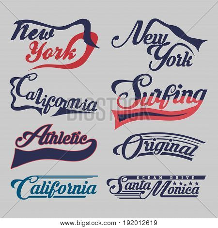 set of labels New York City California surfing athletic sports T-shirt original design typography flat style