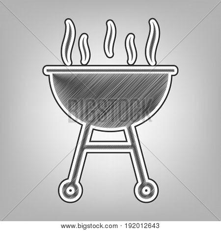 Barbecue simple sign. Vector. Pencil sketch imitation. Dark gray scribble icon with dark gray outer contour at gray background.
