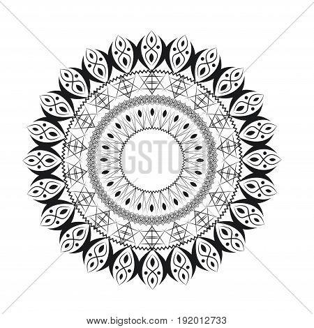 Beautiful abstract round pattern black. Vector illustration