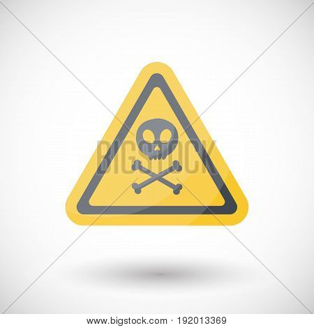 Poison sign vector flat icon Flat design of danger alert symbol with round shadow isolated vector illustration
