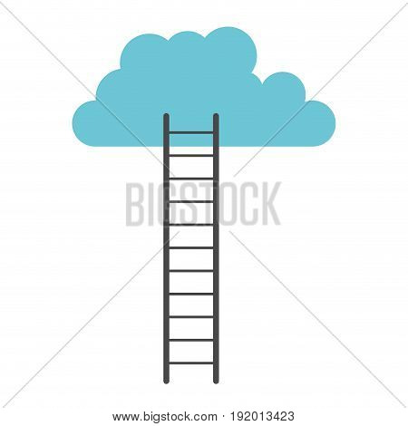 white background with colorful ladder to cloud vector illustration