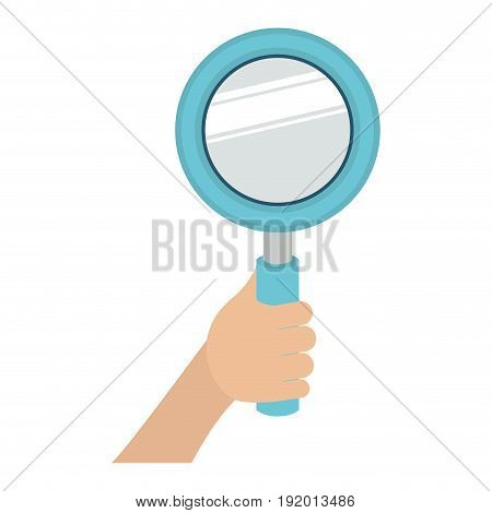 white background with colorful hand holding magnifying glass vector illustration