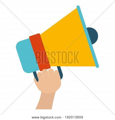 white background with colorful hand holding bullhorn vector illustration