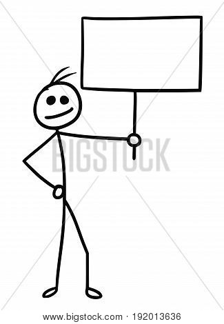Cartoon vector doodle stickman holding empty sign for your text