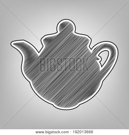 Tea maker Kitchen sign. Vector. Pencil sketch imitation. Dark gray scribble icon with dark gray outer contour at gray background.