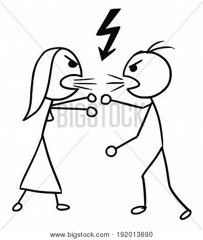 Cartoon vector doodle stickman man and woman argumenting