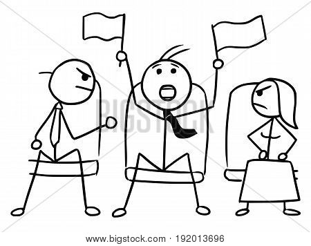 Cartoon vector doodle stickman in theater or cinema with flags waving and two angry viewers
