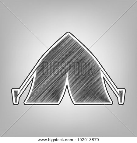 Tourist tent sign. Vector. Pencil sketch imitation. Dark gray scribble icon with dark gray outer contour at gray background.