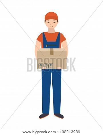 Delivery man in uniform with cardboard box. Isolated on white background. Flat style, vector illustration.