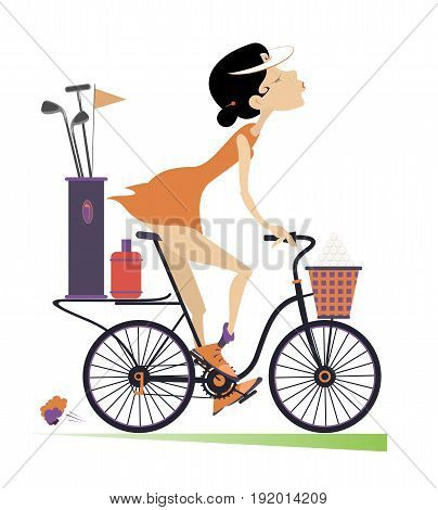 Smiling young woman rides the bike and goes to play golf isolated