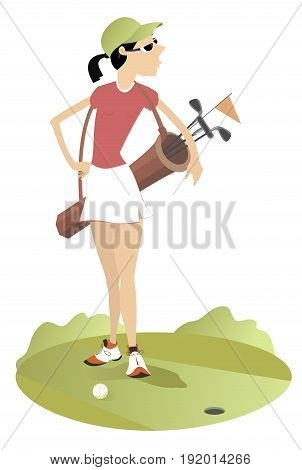 Smiling young woman with a bag with golf clubs is on the golf course