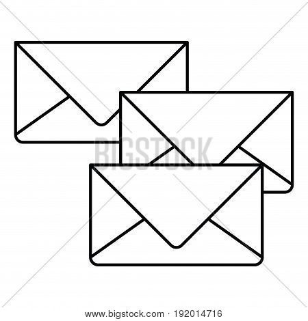 white background with monochrome set of envelopes of mail vector illustration