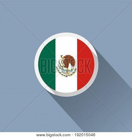 Flag of Mexico. Mexican round flat button. Vector