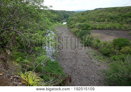 A river running through the Reserva Natural Miraflor (Miraflor Nature Reserve) a popular tourist destination near Esteli in the northern mountains of Nicaragua