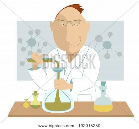 Scientist at the laboratory. Cartoon man scientist conducts an experiment at the laboratory
